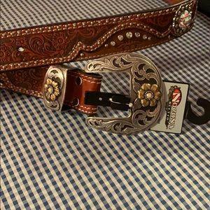 Rhinestone western belt with fancy buckle XL